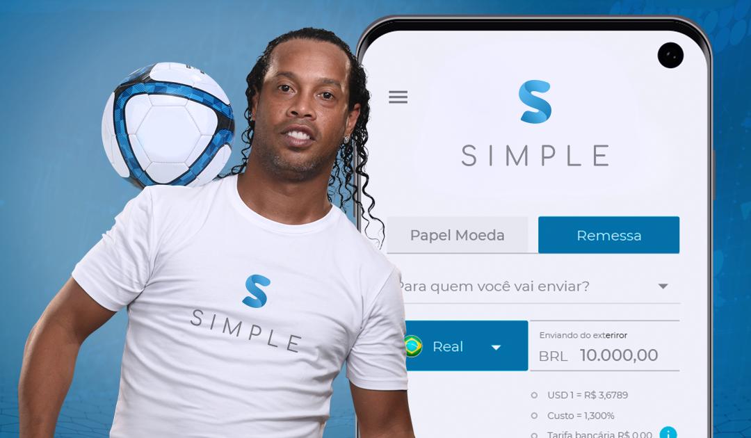 Frente Corretora de Câmbio contrata Ronaldinho Gaúcho para o time SIMPLE
