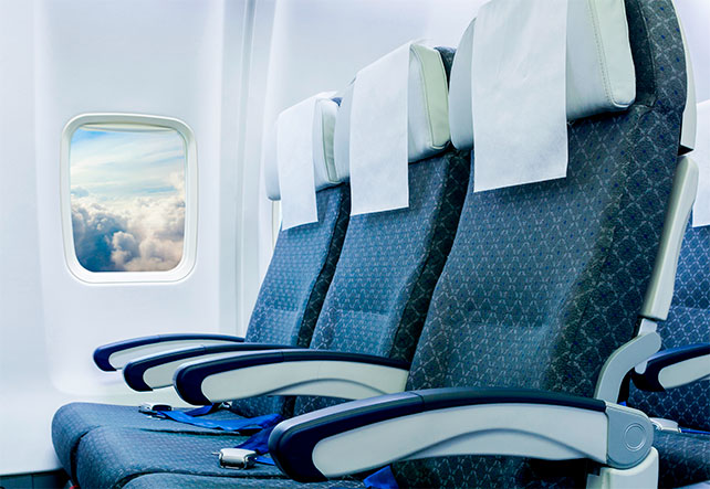 Imagem de bancos de um avião